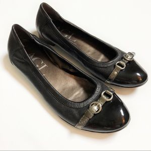 AGL black leather ballet flats with silver buckle
